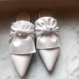 Shoes - White Bow Mules